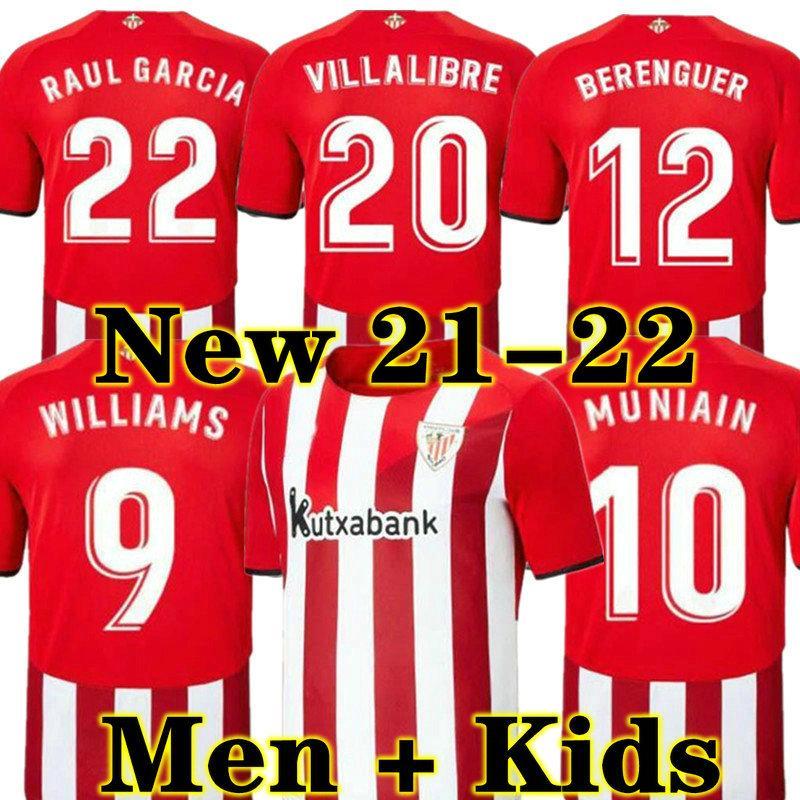 Raul 21 22 Bilbao Soccer Jersey Home Athletic Garcia Berenguer Williams 2021 2022 Villalibre Muniain Martinez Yuri I.Martinez Men + Kids Kit Camiseta de Football Shirt