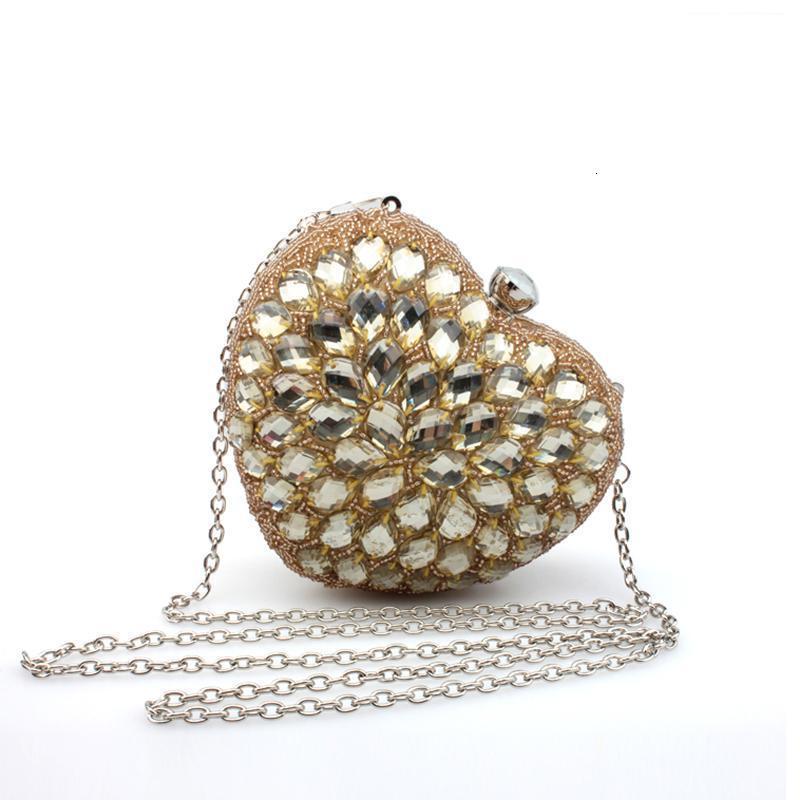 Akşam Çanta Tasarım Kadın Marka Elmaslar Kavramalar Altın Messenger Vintage Kalp Şekli Shinning Parti BS7461 3G3N