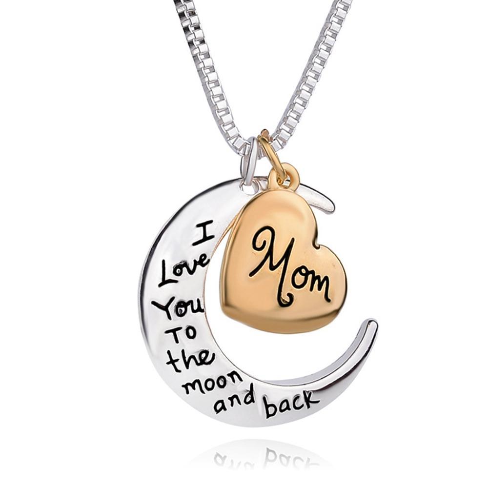 قلادة القلب قلادة مجوهرات أنا أحبك إلى سبيكة القمر مخصص أمي القلائد للنساء عيد الأم هدية الأزياء قلادة
