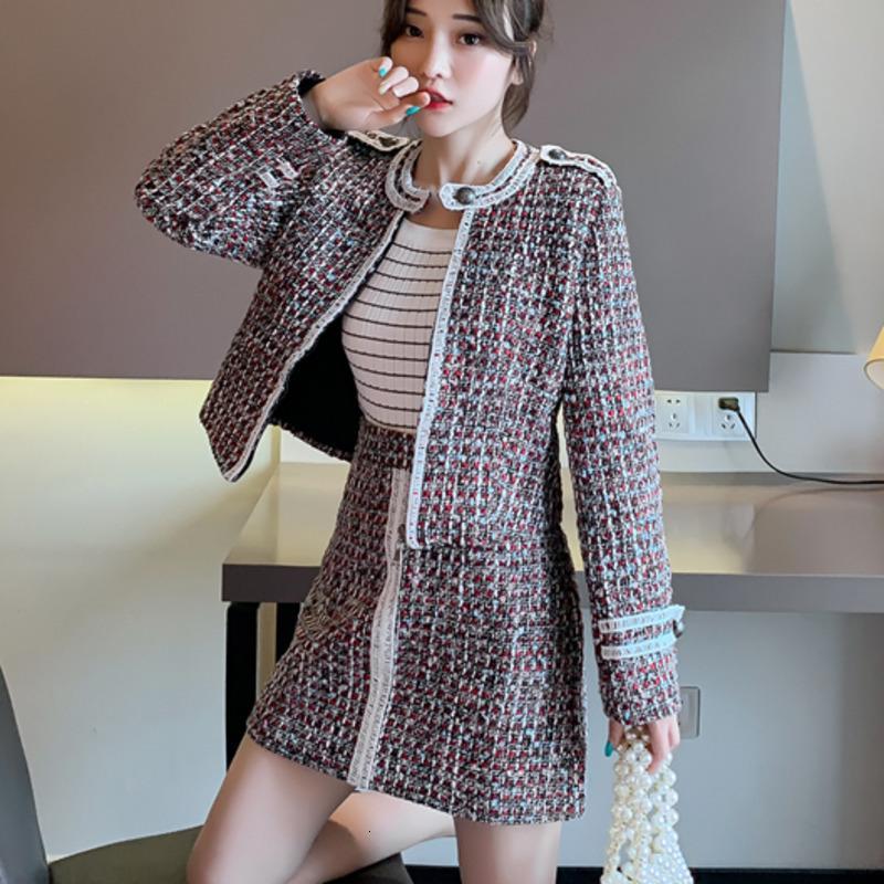 Rock Herbst Winter Plaid Anzug Woolen Zwei Frauen Crop Top Tweed Jacke Mantel + Mini 2 Stück Set Conjuntos de Mujer ImQJ