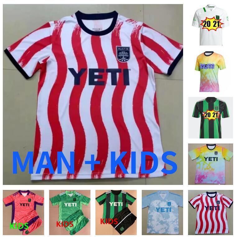 Homem Kit Kit 2021 2022 Cecilio Austin FC Soccer Jerseys Anel Besler Home Kit Preto Verde 21 22 Camisas de Futebol Camisetas Fútbol Maillot de pé