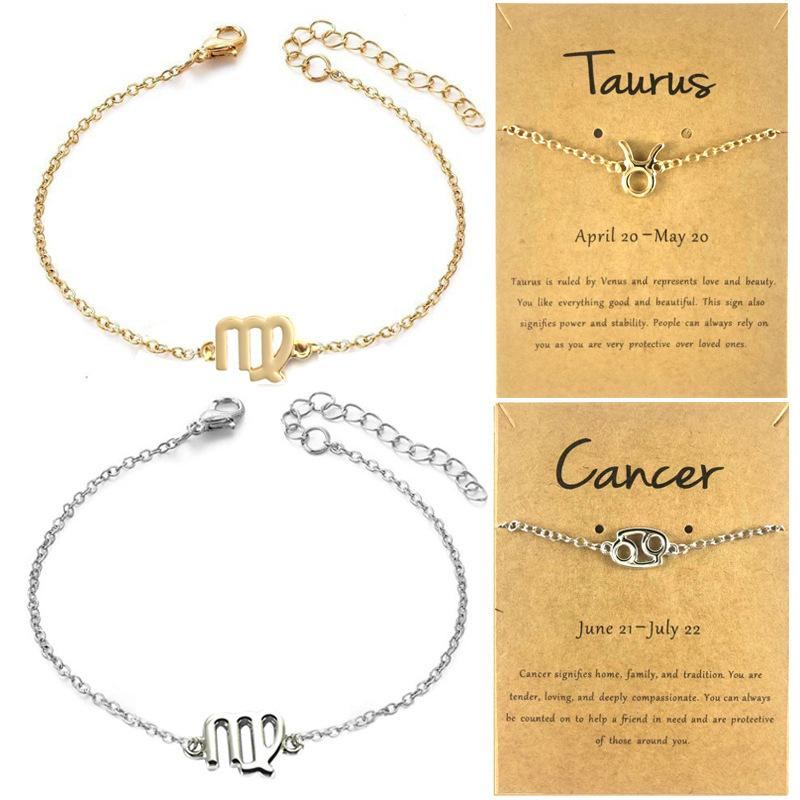 12 Constellations Charm Bracelets with Card Zodiac Horoscope Pattern Chain Bracelet Fashion Jewelry Gifts for Women 2211 Q2