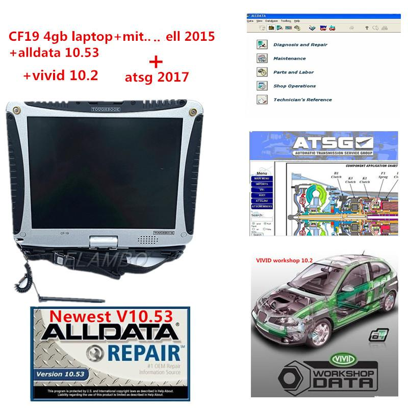 Alldata v10.53+mit..ll OD5+Vivid workshop+atsg 4in 1TB HDD+Laptop CF19 Auto repair soft-ware All data