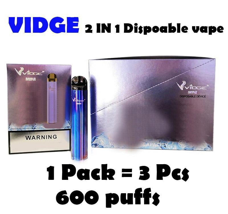 Vidge Mini 2 in 1 Tek Kullanımlık Vape 600 Puffs E Sigara Kiti Cihazı 400mAh 1 + 1 ml Pod İki Vaping Deneyimi 2in1 10 Renkler Buharlaştırıcı