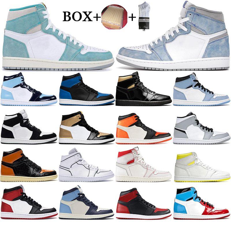 مع صندوق 2021 رجل 1 عالية og كرة السلة الأحذية 1 ثانية المحظورة جامعة الأزرق الحرباء hyper الملكي الأعلى 3 UNC Orange Sports Sneakers