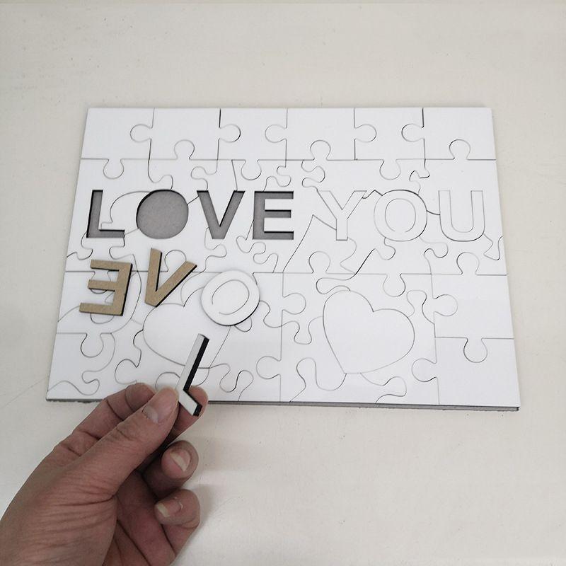 A4 التسامي لغز فارغة لصالح الحب الإبداعي 47 أجزاء mdf نقل الحرارة بانوراما لعبة ديي هدية عيد الحب