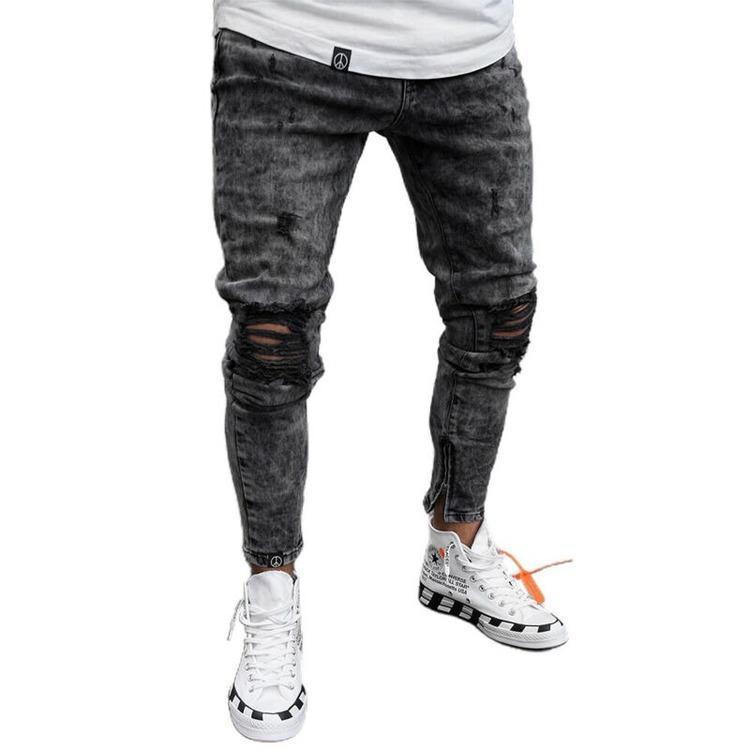 Jeans masculinos homens rasgados calças jeans homens stretchy afligido vestuário magro casual fit calça
