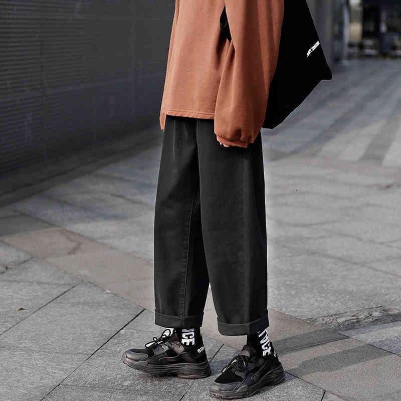 레트로 와이드 다리 청바지 남성 패션 솔리드 컬러 캐주얼 스트레이트 진 바지 남자 streetwear 힙합 데님 바지 남성 M-3XL