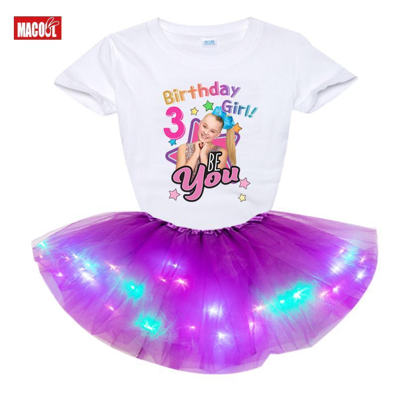 Conjuntos de ropa Girls Cumpleaños Número Tshirt Summer Kids Ropa Princesa Moda Niños Niños Snowdler + Vestido LED Jojosiwa