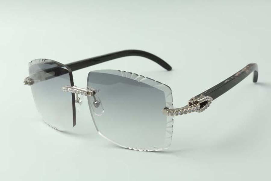 2021 Designer Medium Diamanten Sonnenbrillen 3524022, Schneidlinse Natürliche Schwarz Texturierte Ox Hörner Gläser, Größe: 58-18-140mm