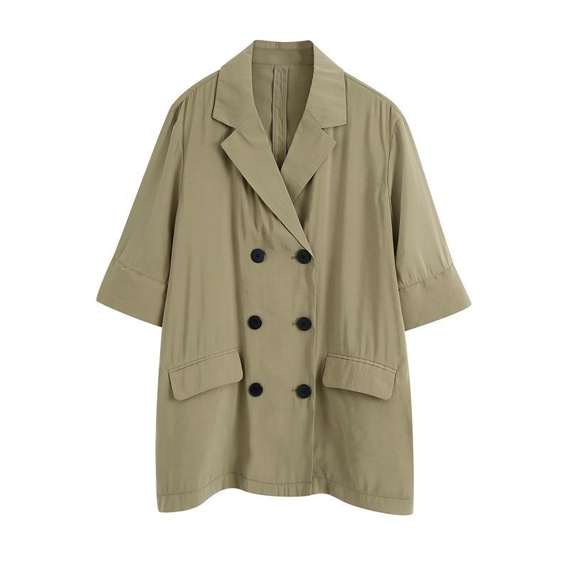 Beiläufige lose grundlegende blazer hemd kurze sleeveles plus größe doppelreiber anzug tops sommer büro dame wb2470 210603