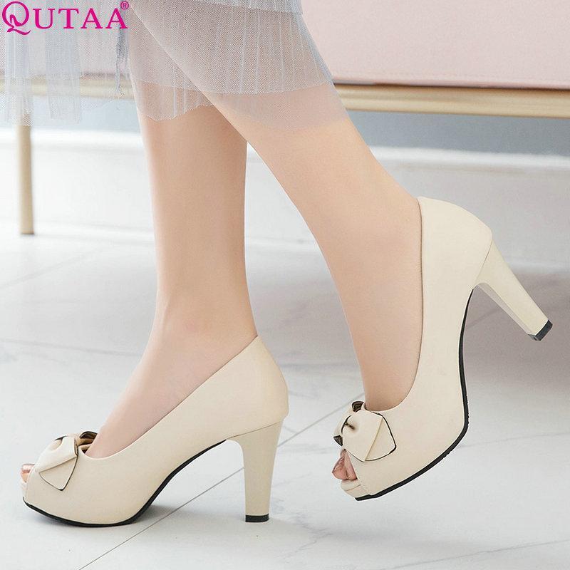 Kadın platform platformu kare yüksek topuk tüm maç pu deri papyon yaz peep toe rahat boyutu 34-43 elbise ayakkabı