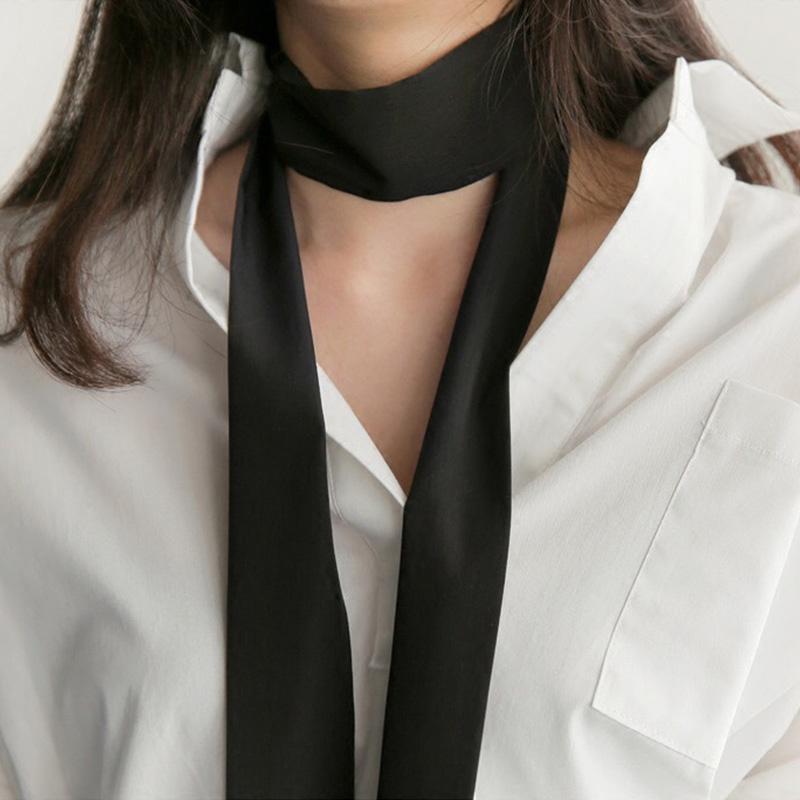 Écharpe en soie Femmes Print Col de cheveux longs Écharpes Bureau Dames Châle Bandana 6cm * 200cm mouchoir