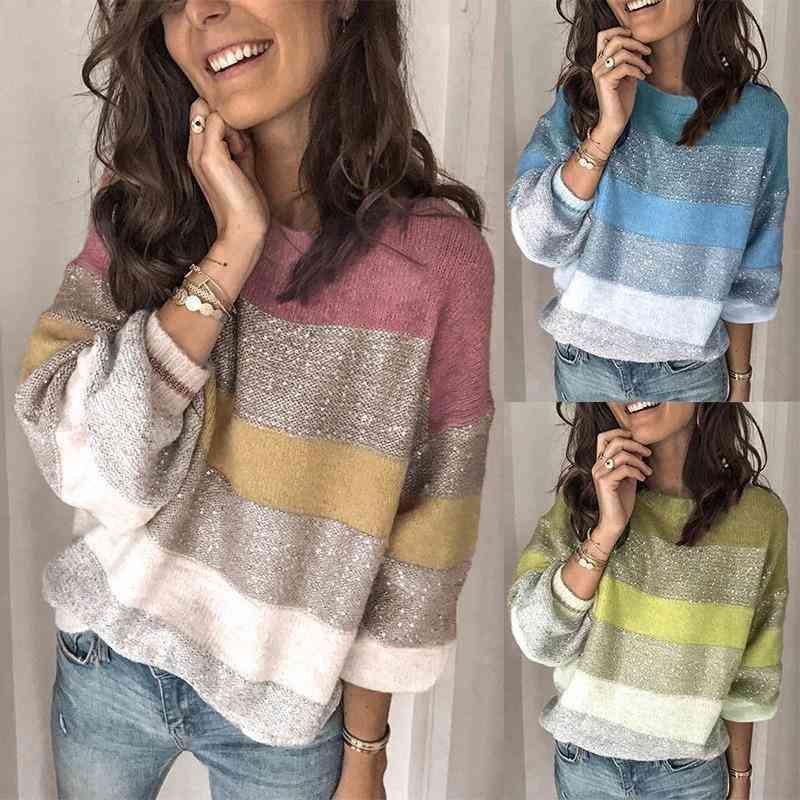 Womens Pullover Europäische und amerikanische weibliche Herbst / Winter Neue lose Rundhals Multicolored Nähen Pullover Top