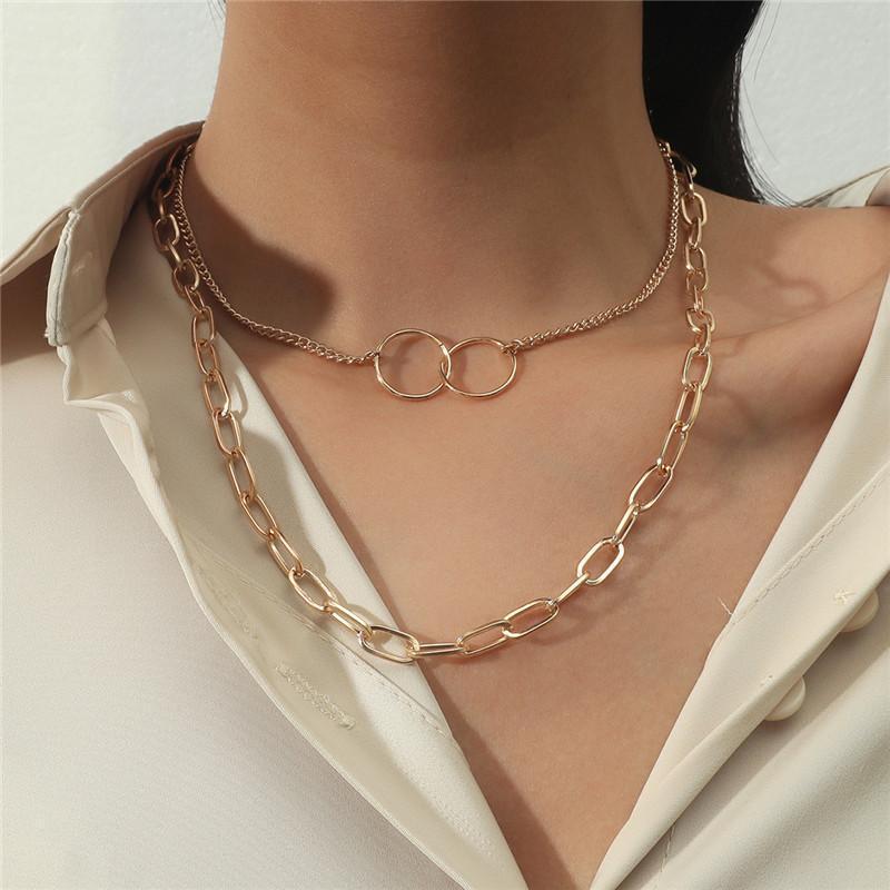 Punk Rund Dicke Kette Aussage Halskette Frauen Doppelschicht Kreis Halsketten Für Minimalistische Choker Schmuck Chokers