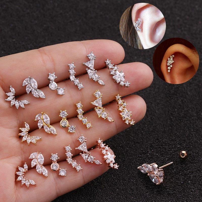 Filles femmes courbées cz zircon cristal cartilage goujette boucles boucles d'oreilles recrook conque vis bretelles oreille perçage costume bijoux hoop huggie
