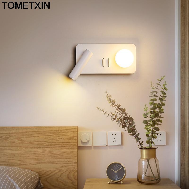 침대 옆 램프 LED 독서 벽 램프 스위치 크리 에이 티브 노르딕 침실 빛 거실 현대 책 Anterns