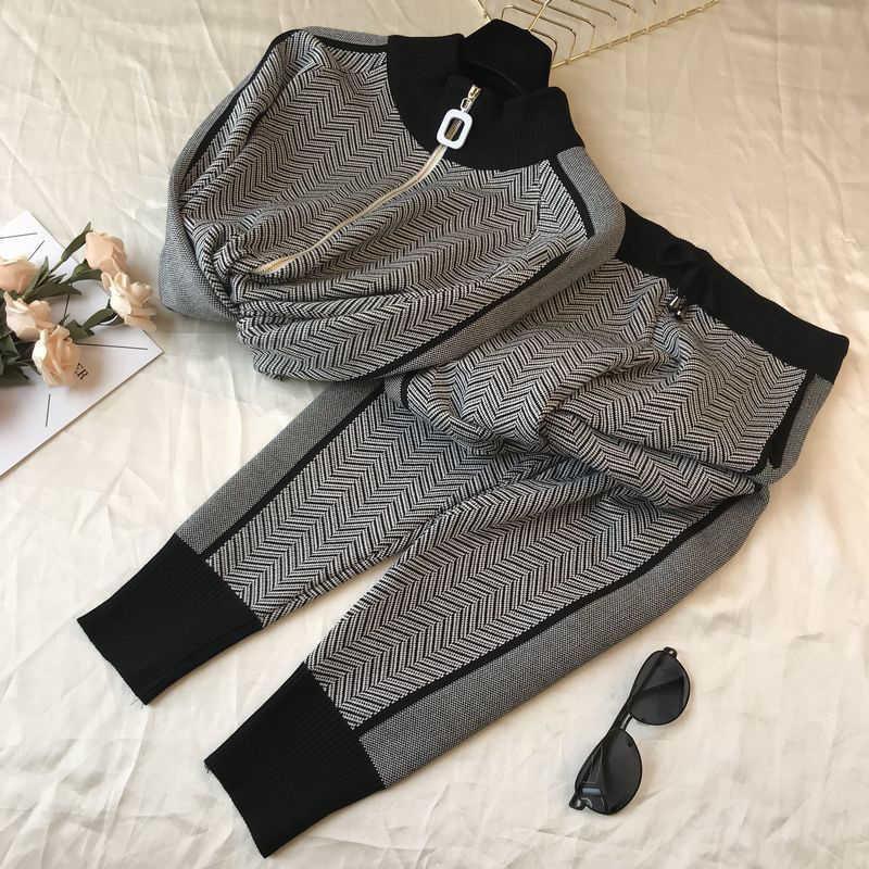 Pull coréen + Pantalons Femmes Vêtements Ensemble Casual Corps Consactures Cardigan Pantalons Tenue Spring Plaid Two Pieces Femme Tricole Tricoté Q0527