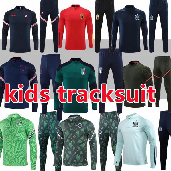 جديد قمم 21 22 أطفال رياضية إيطاليا الأرجنتين المملكة المتحدة B.FERNANDES Kane Ronald Messi MBAPPE 2021 2022 Soccer Football Training Suit