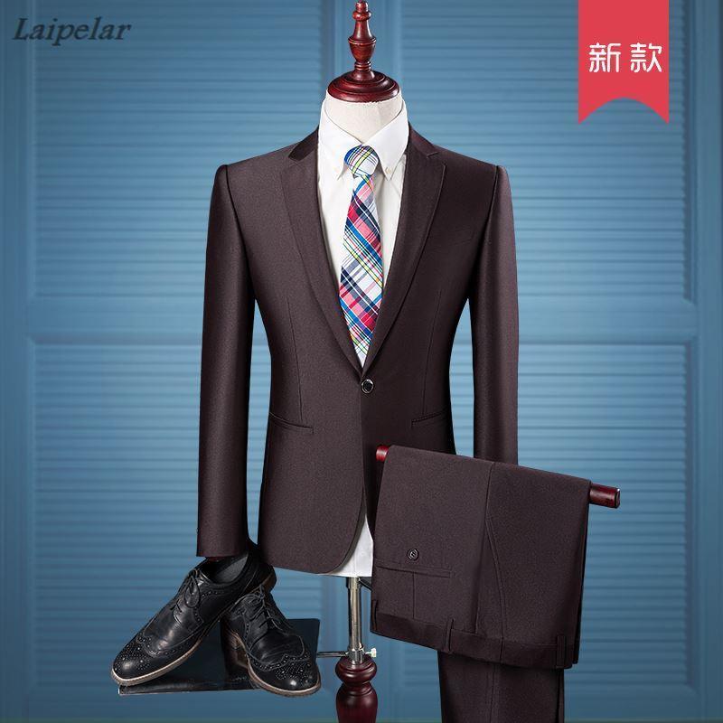 (Giacca + Pantaloni) Moda uomo Boutique Pure Color Groom Abito da sposa abiti maschili Big Size Casual Business M Blazer