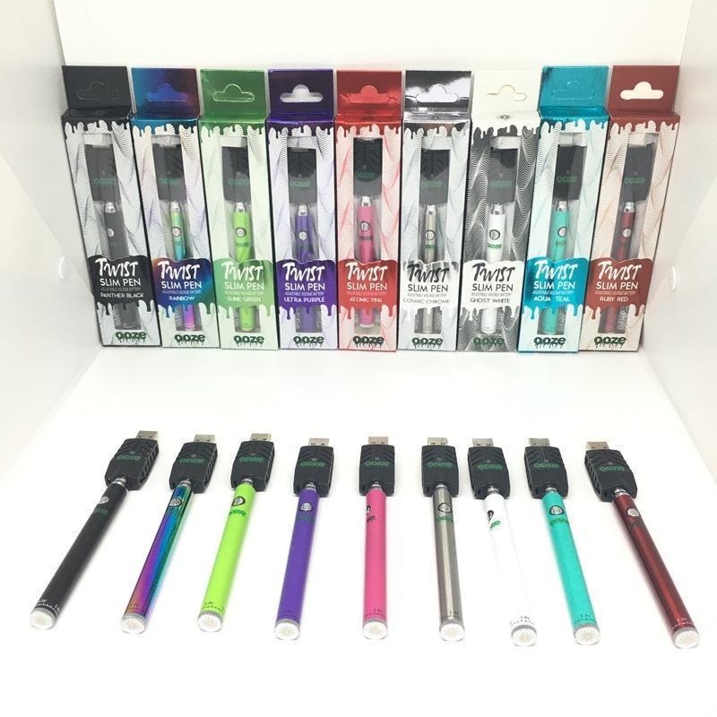 OO-Ze 슬림 트위스트 배터리 320 MAH + 스마트 USB 대 브래스 너클 버텍스 법