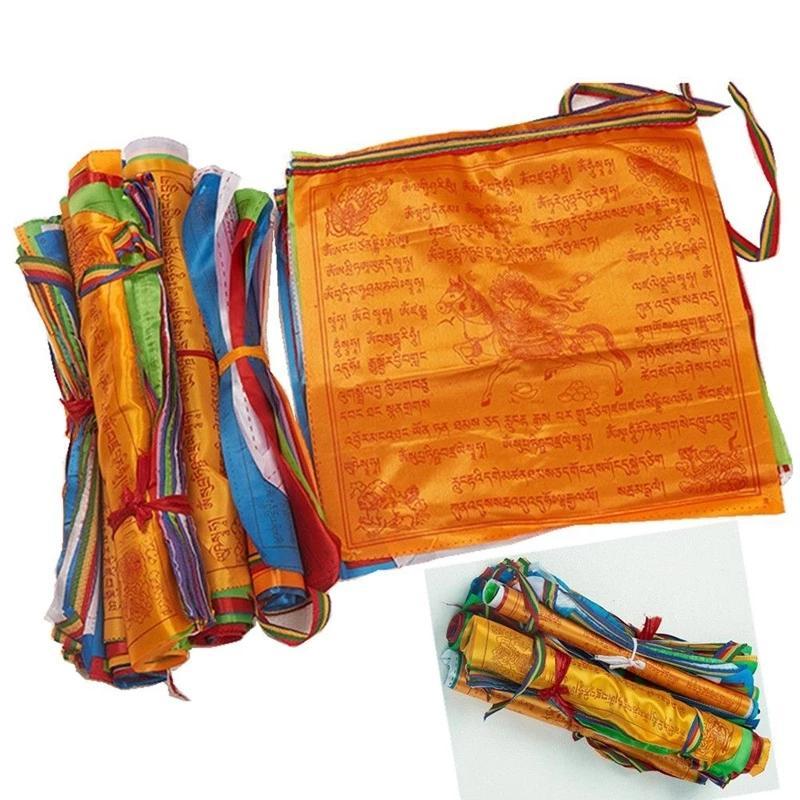 10 листов / комплект религиозных флагов тибетский буддийский материалы цветной печати молитвенный флаг искусственный шелковый тибет легкие така баннер Священные Писания садовый декор