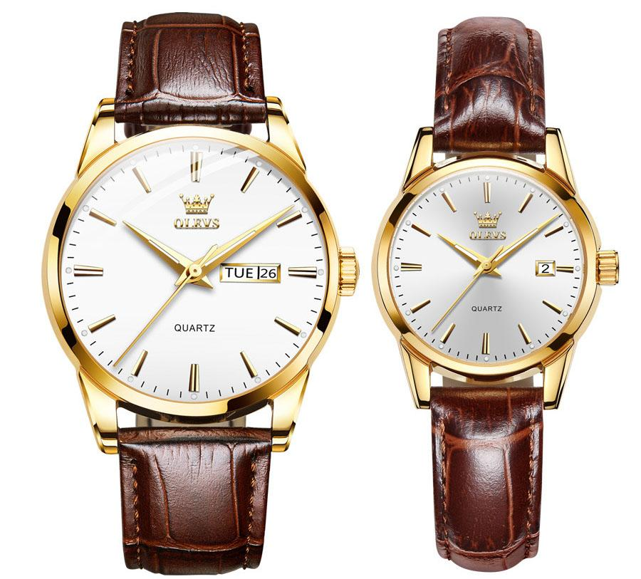 Olevs 커플 시계 남성 이중 달력 30m 방수 유니섹스 럭셔리 쿼츠 손목 시계 여성 정품 가죽 핸드 밴드 로즈 골드 시계 Reloj Masculino
