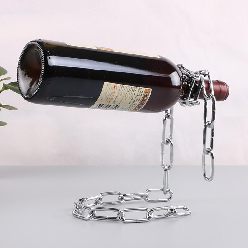 Cadena flotante mágica Cuerda de la botella de vino Soporte de rack Soporte de soporte Art Decoración Soporte Soporte Suspensión Cocina Comedor Celdar Bar Bar Decoración