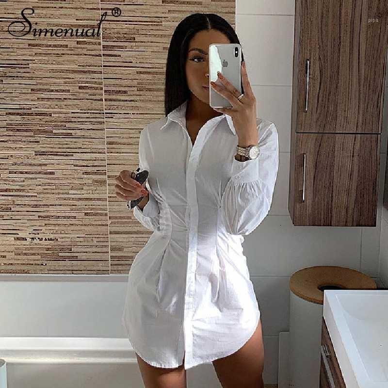 Simenual Solid White Women Shirt Dress Fashion 2019 Autunno Manica Lunga Sexy Mini Abiti Bodycon Slim Basic Ruched Breve Dress 3