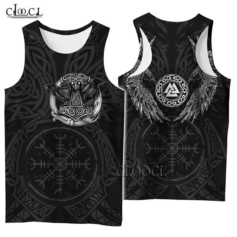 Cloocl 3D Impressão Tanque de Impressão Popular Viking Símbolo Símbolo Tatuagem Raven Streetwear Vest Sem Mangas Homens Mulheres Casuais Fitness Drop Shipping 210408