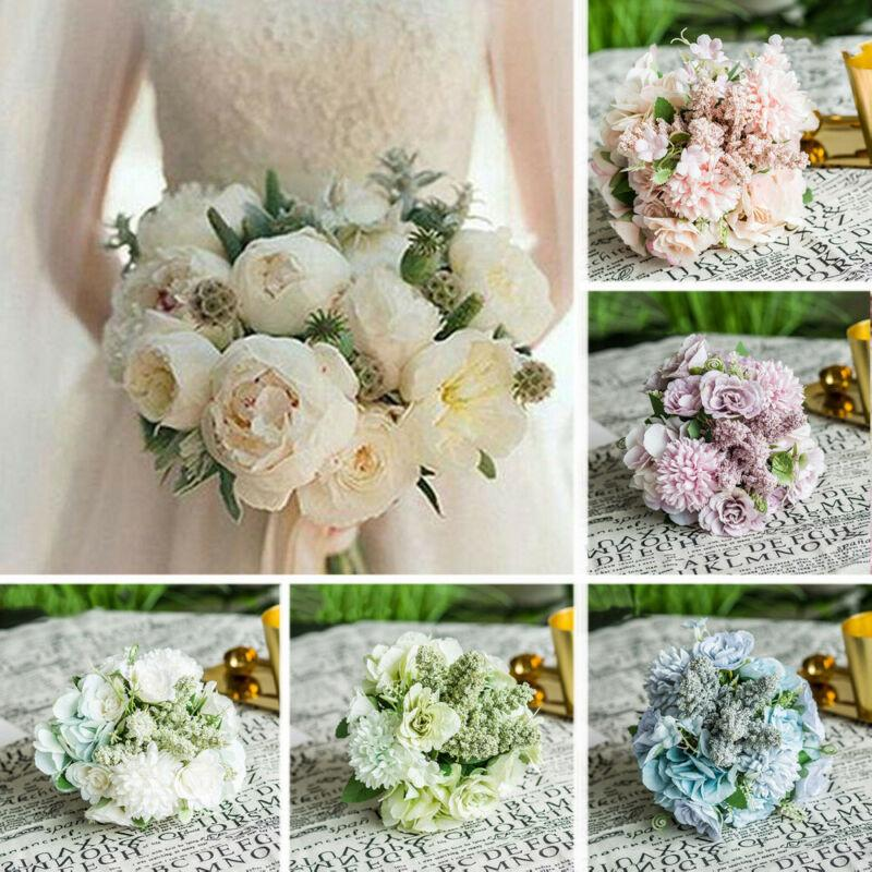 Artificial Rose Flower For Wedding Party Home Decor Fake Flowers Bridal Bouquet