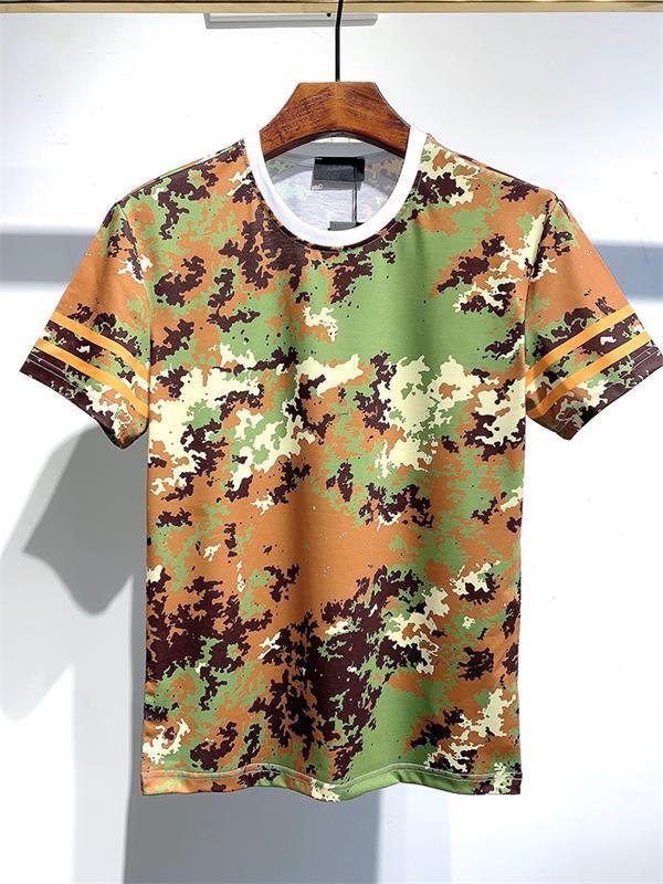 2021 T Shirt T Shirt Moda de hombre Camuflaje Cuello redondo Negocio Cómodo manga casual de algodón suelto Diseñadores clásicos Ropa