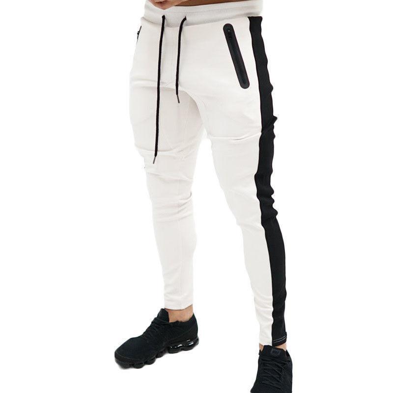 Men's Pants Mens Slim Fit Pencil Cotton Male Vogue Side Striped Elastic Waist Stretch Joggers Sportswear Slacks