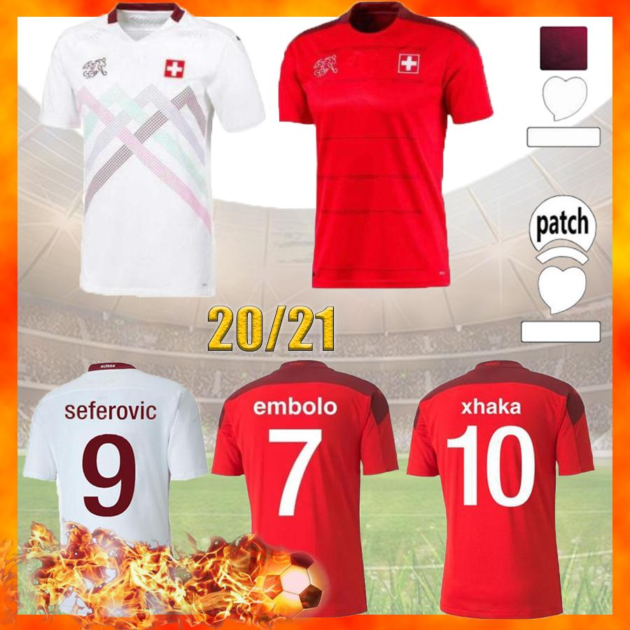 Swiss Soccer Trikots Zuhause 2021 2022 Akanji Shaqiri Embolo Seferovic Football Jersey Zakaria Elvedi Freiler Vargas Shirts Camiseta Schweiz