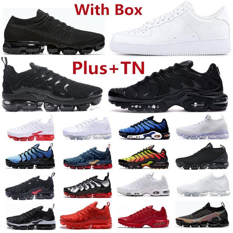 2021 TN Spor Ayakkabı Artı Koşu Üçlü Siyah Erkek Kadın Eğitmenler Kırmızı Menekşe Kaykay Onları Yüksek Düşük Kesim Beyaz Açık Atletik Sneakers SZ ABD 13 EUR 47 Kutusu Ile