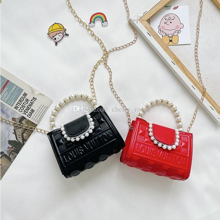 Children designer handbags sweet girls Pearl letter Chain one shoulder bags Purse kids mini wallet fashion princess messenger bag F350
