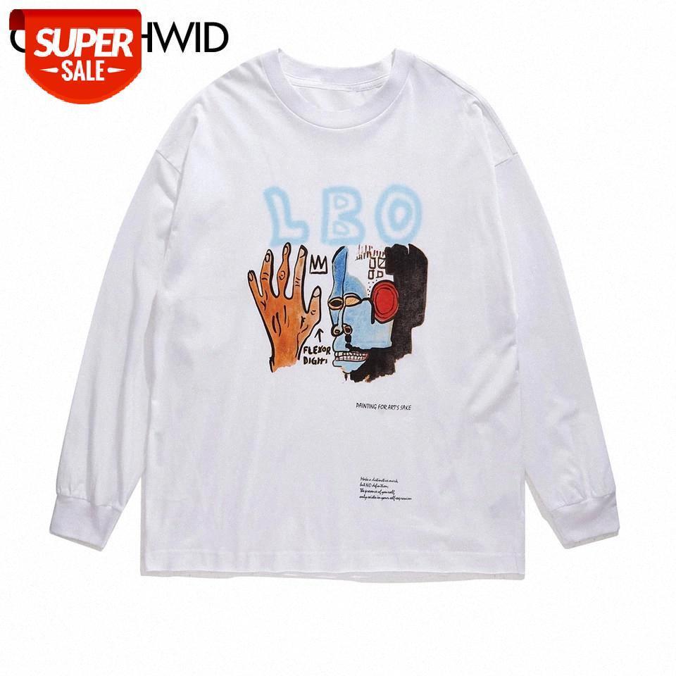 T-shirt Yaratıcı Graffiti İlkel Baskı Uzun Kollu Tişörtleri Harajuku Casual Streetwear Tees Gömlek Hip Hop Moda Tops parti # iB6J