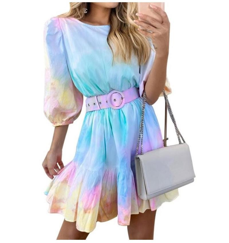 Womens Designer Tie Dye Dresses Cute Mini Dresses for Woman Casual Belt Fashion Ruffle Patchwork Dresses Vestidos De Verano