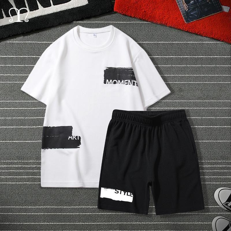 Erkek Eşofman Hip Hop Eşofman Erkekler 2021 Yaz Erkek Spor Set Marka Moda Baskı Şort + T Gömlek Erkek Takım 2 Parça Setleri Artı Siz