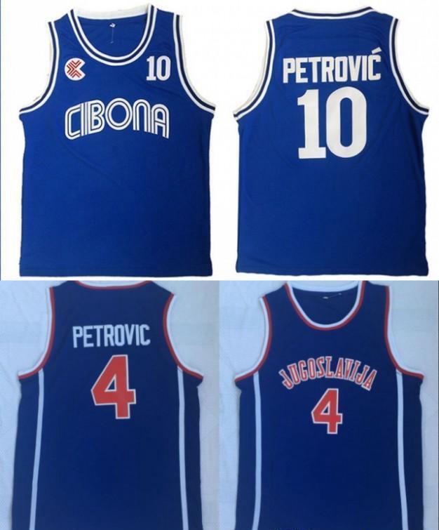 Mens Croácia Vintage # 10 Cibona Drazen Petrovic Basketball Jerseys baratos Drazen Petrovic # 4 Jugoslavija Iugoslávia Croácia costurado Shirts