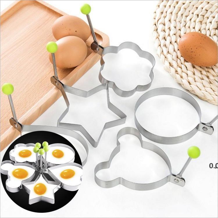 Nouveau en acier inoxydable 5 Style Fred Oeuf Shaper Omelette Omelette Moule Moule Moule Friture Oeufs Outils de cuisine Cuisine Accessoires Gadget Anneaux EWF7516