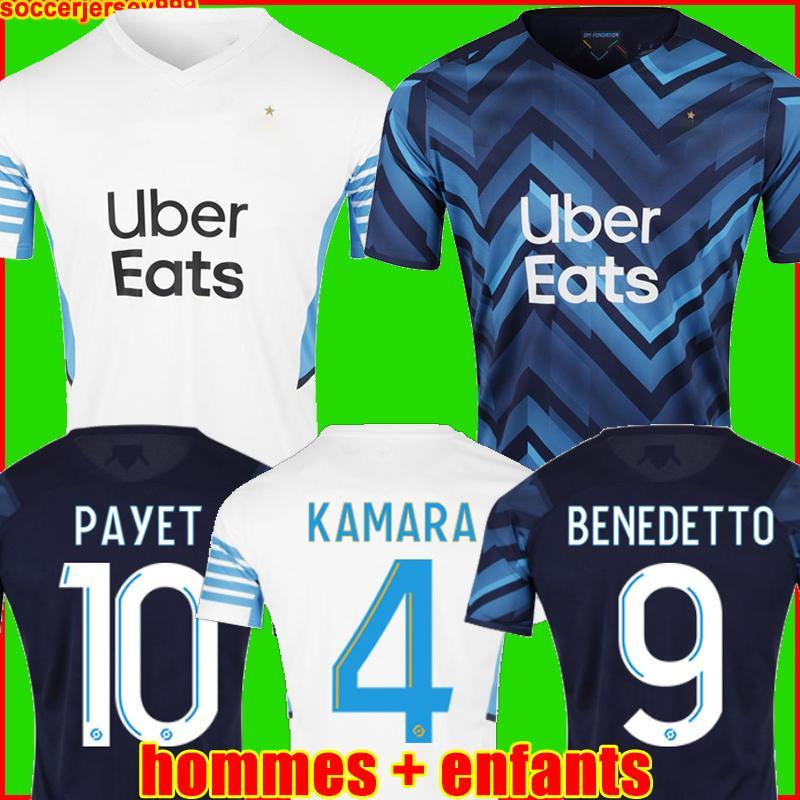 قميص كرة القدم Olympique De Marseille 20 21 OM 2020 2021 Maillot Foot PAYET THAUVIN BenEDETTO Maillots قميص كرة القدم للرجال + طقم أطفال ثالث