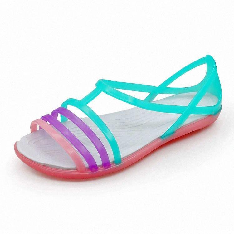 Droshipping NEW 2020 Sandales épaisses de grande taille Épais Slip sur la femme Anti Skid Hole Jelly Rose Chaussures Plat Jardin Chaussures Chaussures R5le #