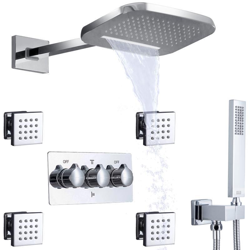 Chroom gepolijste douche met handgreep wandgemonteerde waterval en regen messing lichaam badkamer warme koude mixer regenval hoofd diverter systeem