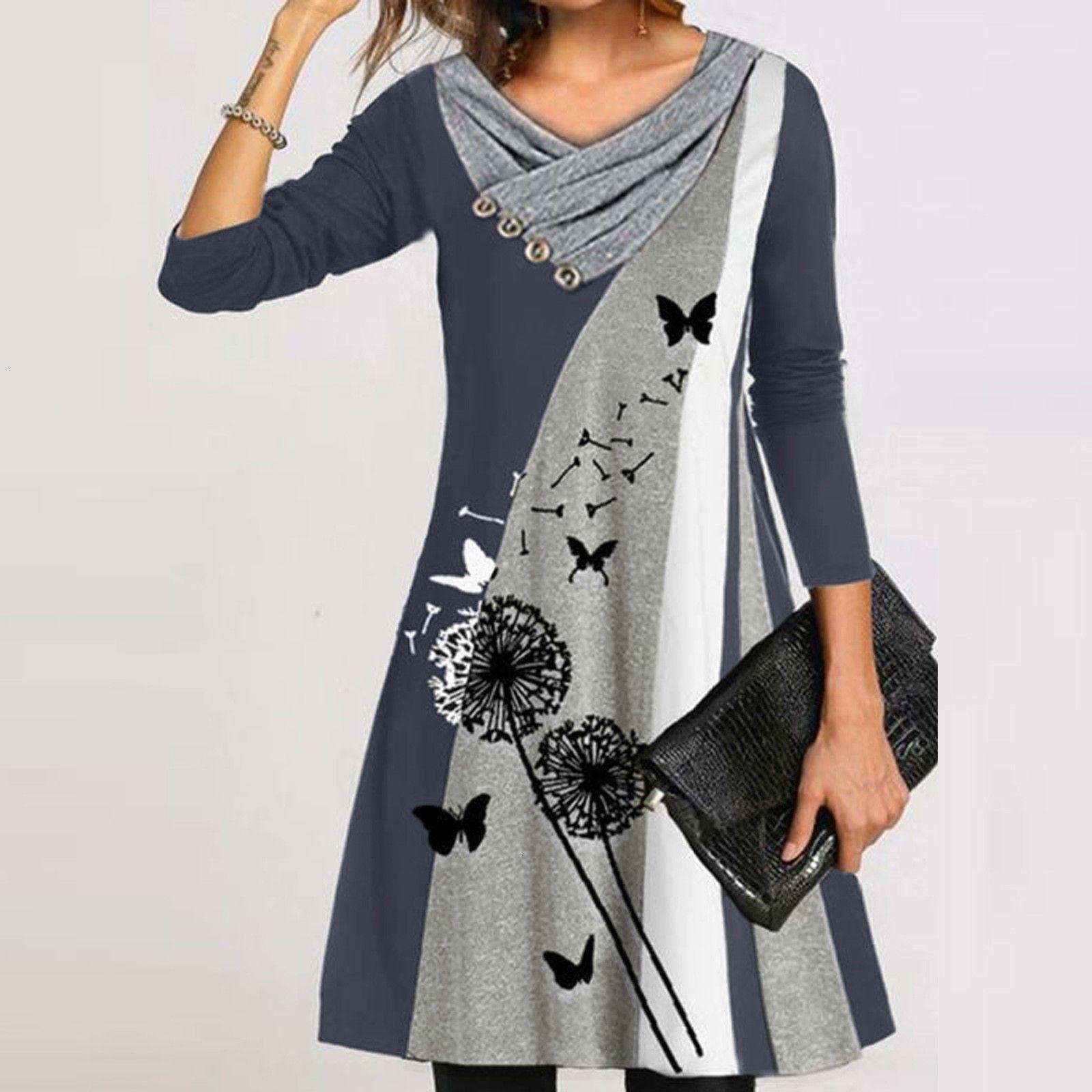 Dress 40. # Fiori femminili ES Stampato Stiksels Stiksels Stiksels Stikwork Pulsante V-Collar lungo Mouwen Comodi tela