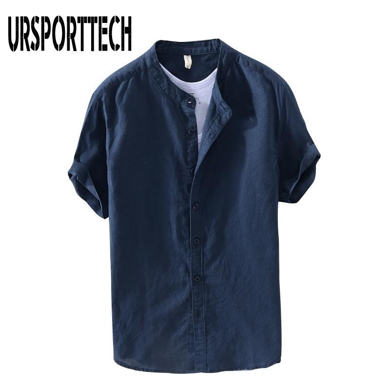Ursportech Summer New Vintage Hommes Chemise Chemise en coton Lâche Casual Solide Sleeve Button Button Tops Blouse de marque Harajuku 210331
