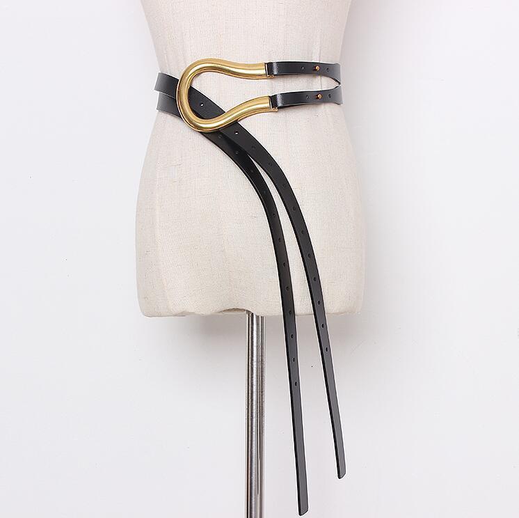 Kadın Pist Moda Hakiki Deri Gömlek Kumaşları Kadın Elbise Ceket Korseler Kemer Kemerler Dekorasyon Geniş Kemer R2177