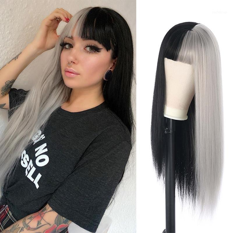 الأصغر الشعر الأسود والأبيض طويل مستقيم الباروكات الاصطناعية ارتفاع درجة الحرارة الألياف تأثيري الباروكة 24inch المرأة 1