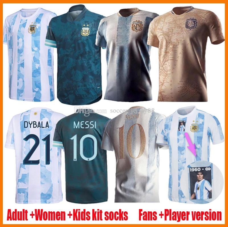 2021 Argentina Home Aleje Jerseys de fútbol Versión del jugador Mujer Lady 20 21 22 200th Messi Dybala Kits Kits Camisa de fútbol Agüero Icardi Maradona Camiseta de Futbol