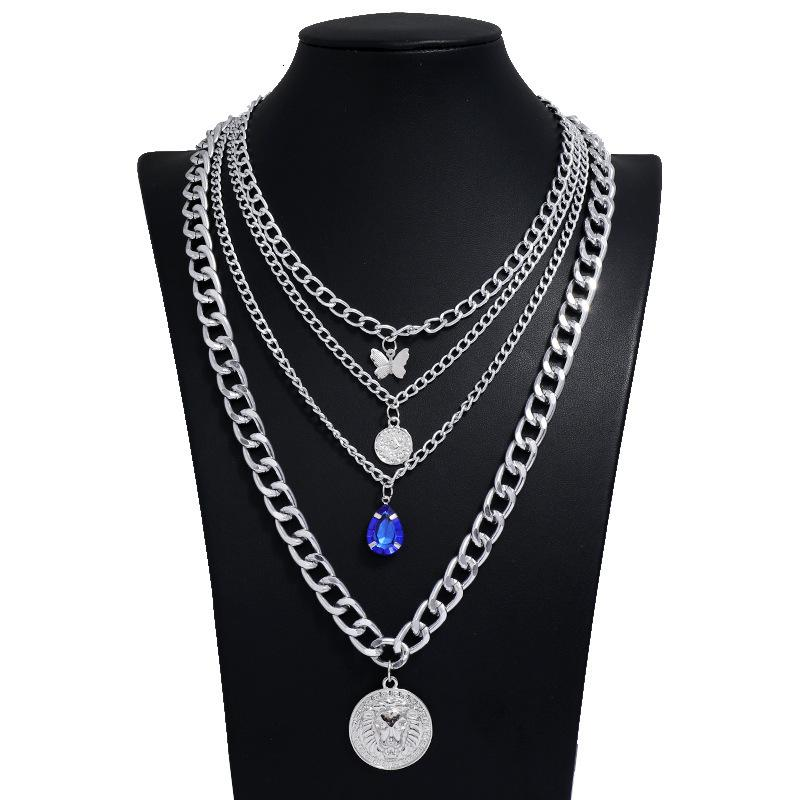 suit necklace Multi Nelace layer combination inlaid folding with diamond butterfly lion head pendant collar chain